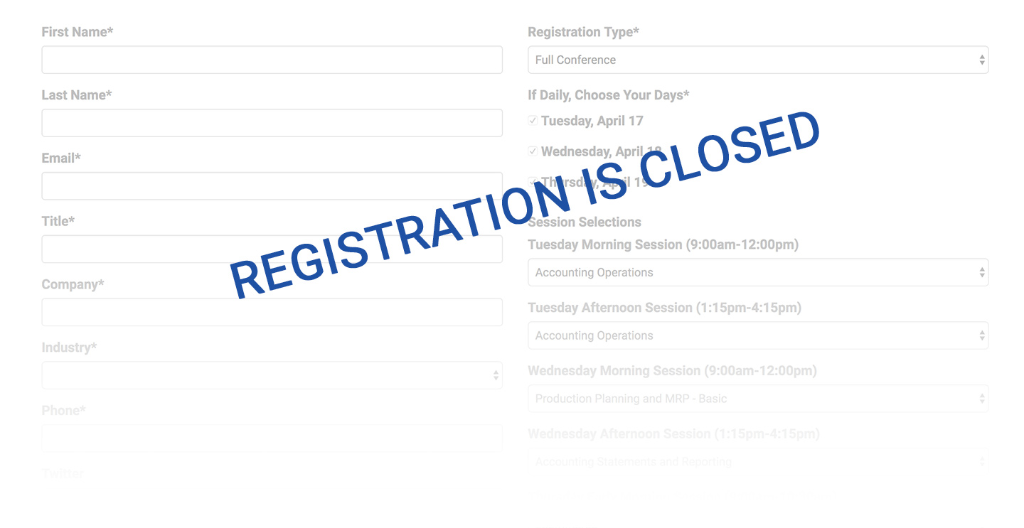 2018 User Conference Registration is Closed