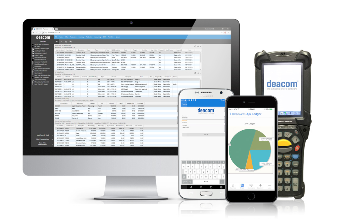 DEACOM ERP runs on multiple devices.