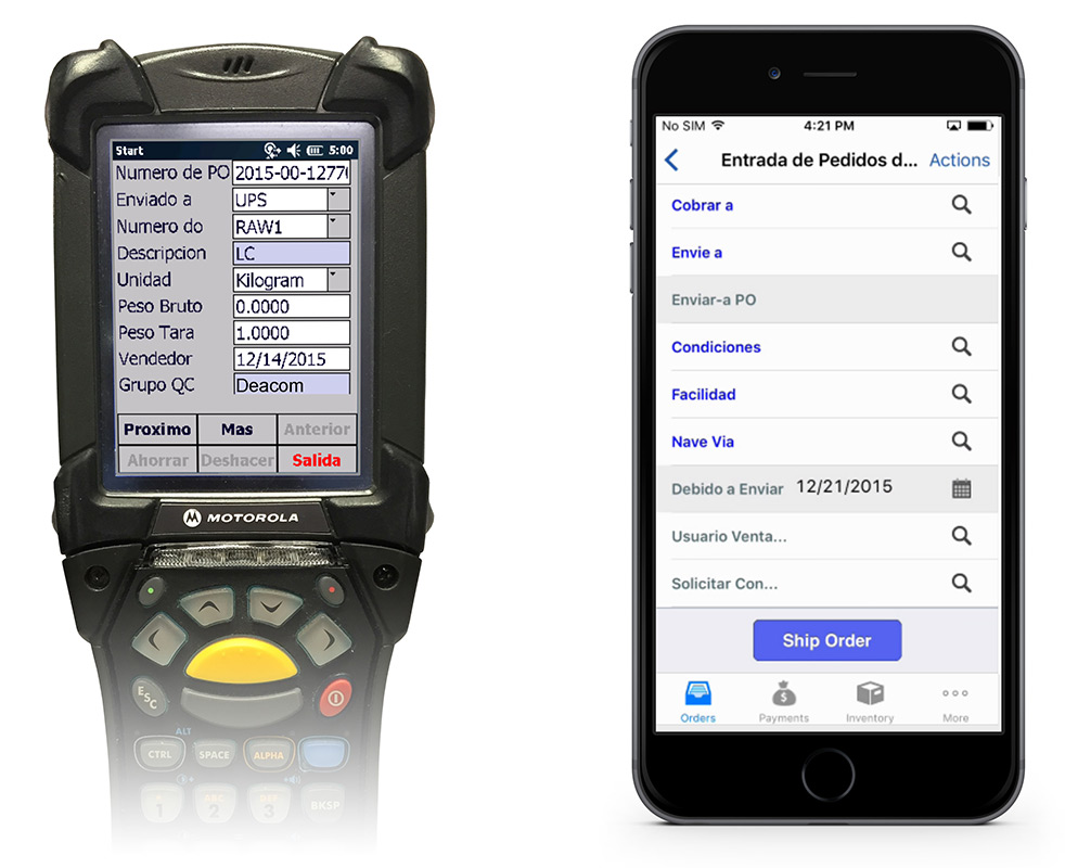 iPhone and Scanner running localized versions of Deacom ERP software