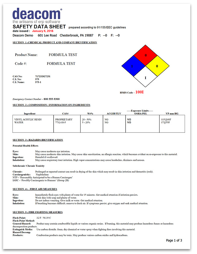 Material Safety Data Sheet sample from DEACOM ERP
