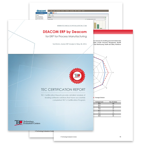 TEC 2016 Certification Report for DEACOM ERP Software