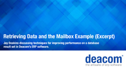 ERP Performance - Retrieving Data and The Mailbox Example