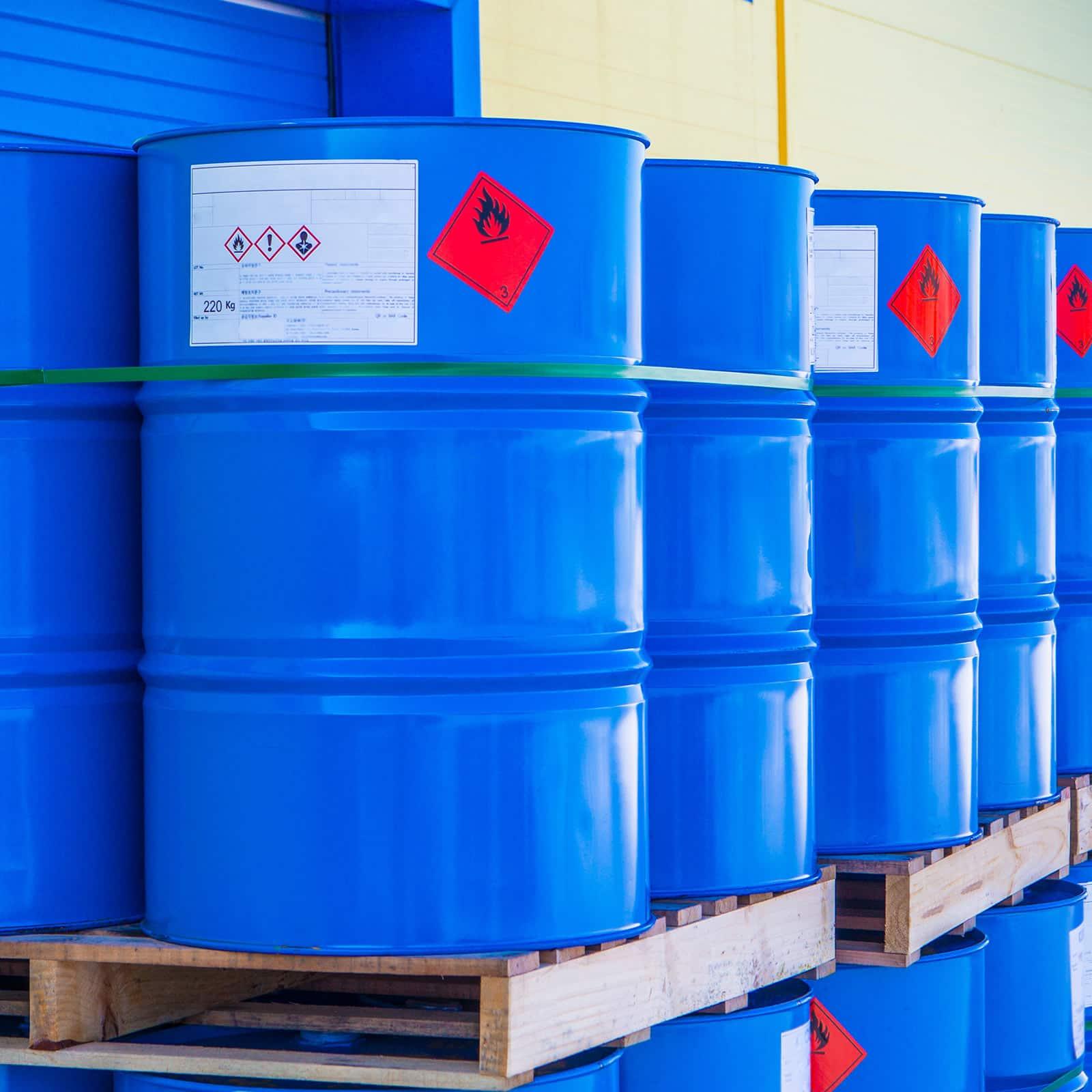 Barrels with SDS labels