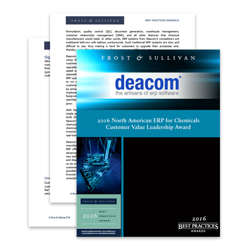 Frost & Sullivan Best Practices Research on DEACOM ERP