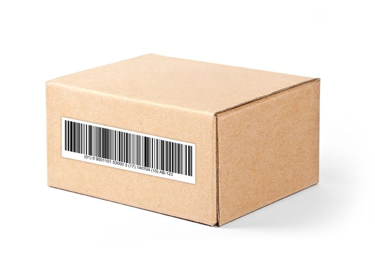 Box with GS1-128 Barcode