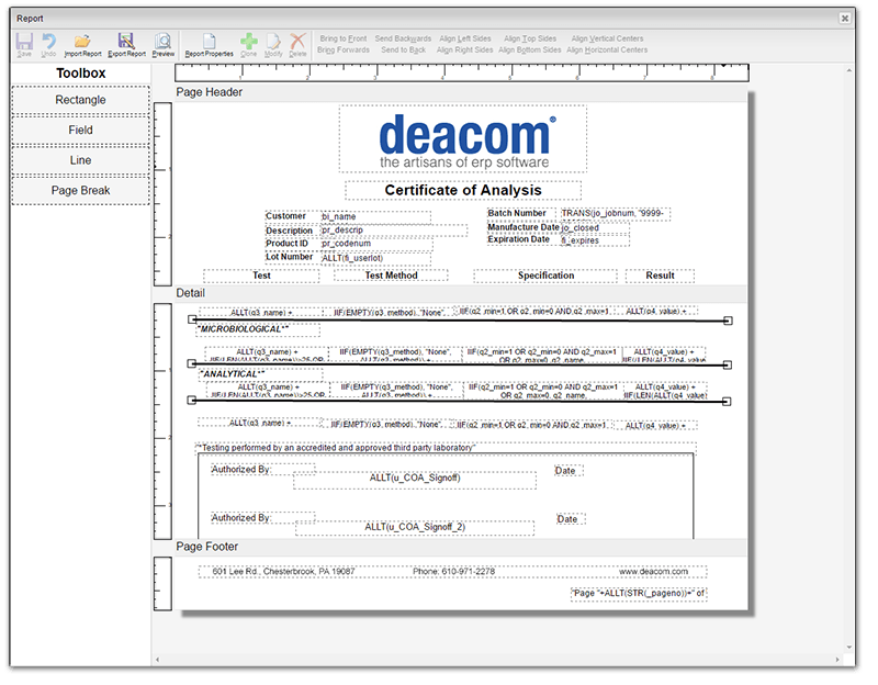 Document Examples Generated by DEACOM ERP Software